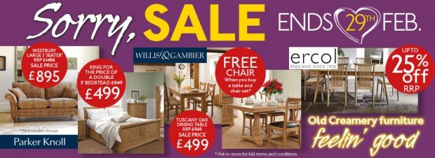 Old Creamery's Furniture Sale ends 29th February